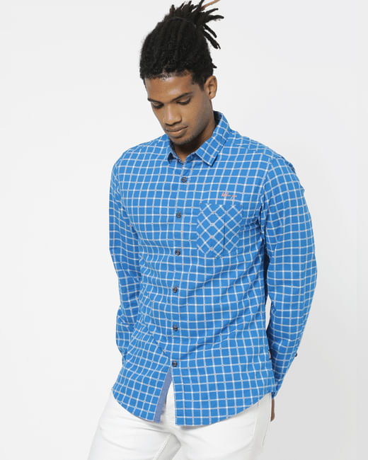 Blue Full Sleeves Check Shirt