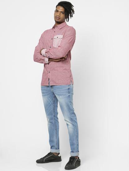 Red Full Sleeves Small Check Shirt