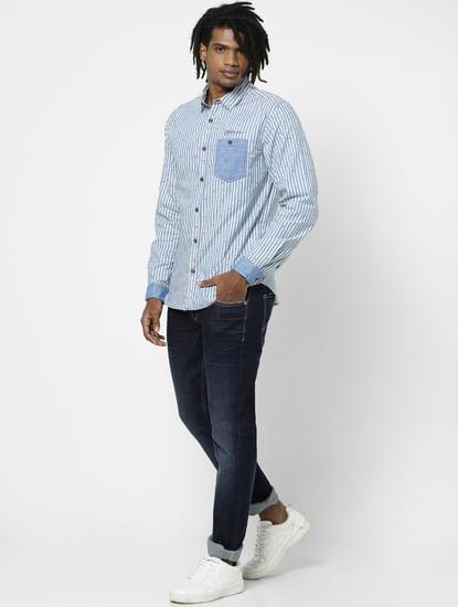 Light Blue Striped Full Sleeves Shirt
