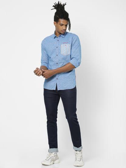 Blue Full Sleeves Small Check Shirt