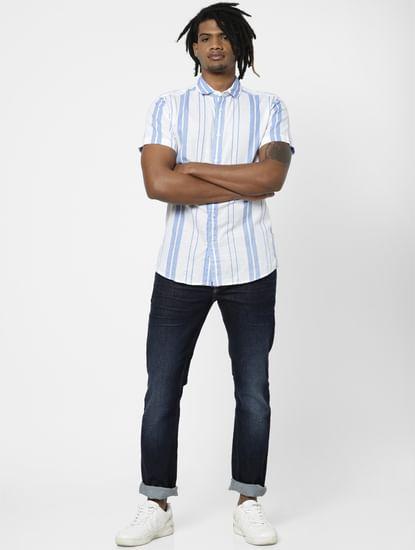 Blue Striped Half Sleeves Shirt