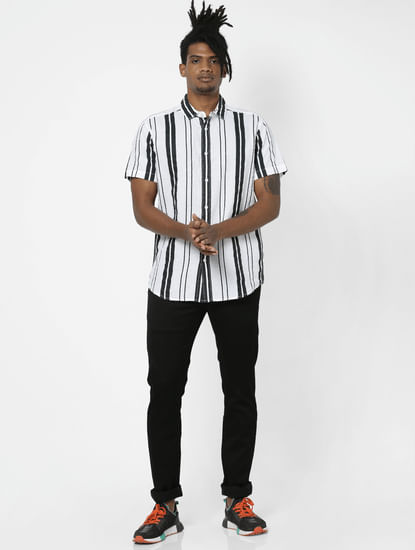 White Striped Half Sleeves Shirt