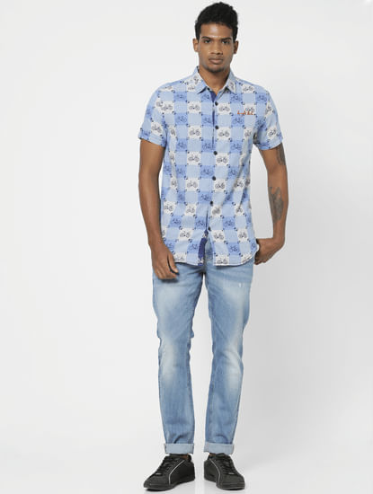 Blue All Over Bicycle Print Half Sleeves Shirt