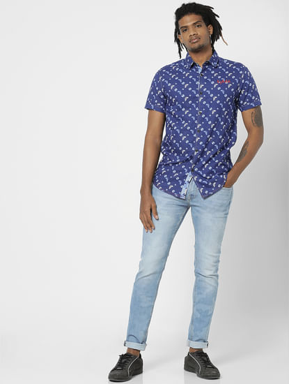 Blue All Over Abstract Print Half Sleeves Shirt
