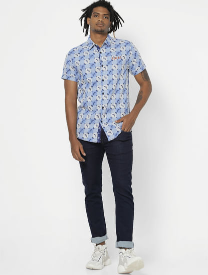 Light Blue All Over Abstract Print Half Sleeves Shirt