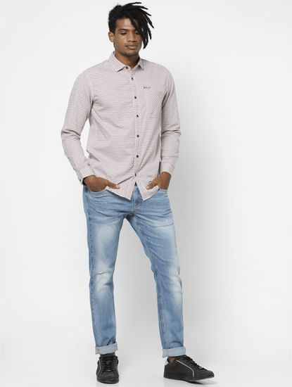 Beige Check Full Sleeves Shirt