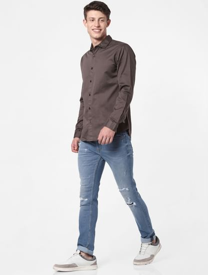 Brown Slim Fit Full Sleeves Shirt