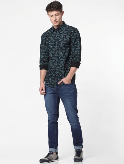 Blue All Over Print Full Sleeves Shirt