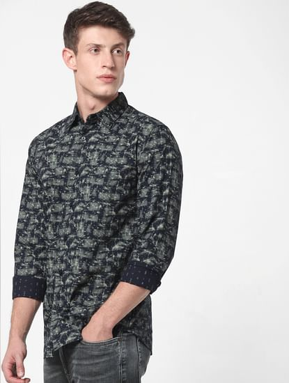 Grey Abstract Print Full Sleeves Shirt