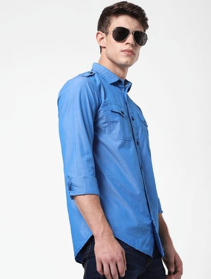 Blue Washed Full Sleeves Shirt