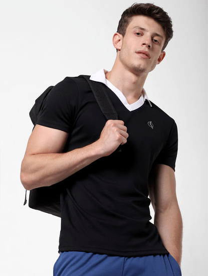 Black Contrast Tipping V Neck T-Shirt
