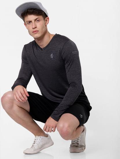 Black Printed V Neck T-Shirt