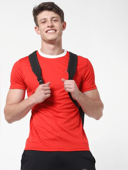 Red Contrast Collar Crew Neck T-Shirt