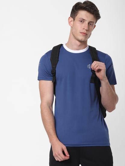 Navy Blue Contrast Collar Crew Neck T-Shirt