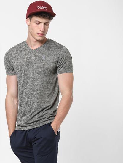 Grey Logo Print V Neck T-Shirt