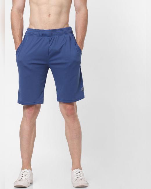 Navy Blue Colourblocked Sweatshorts