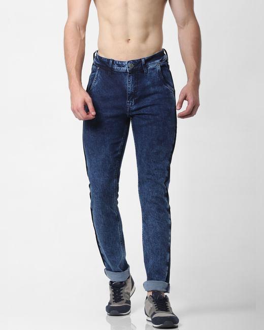 Light Blue Mid Rise Acid Washed Skinny Jeans