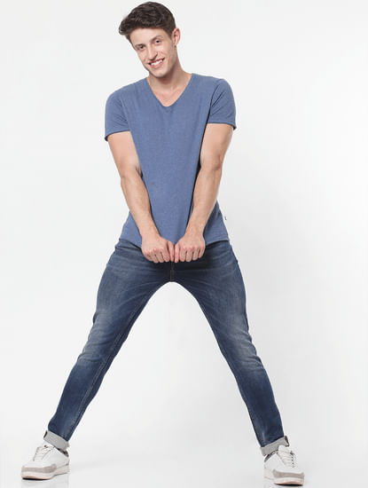 Blue Mid Rise Mildly Faded Slim Fit Jeans