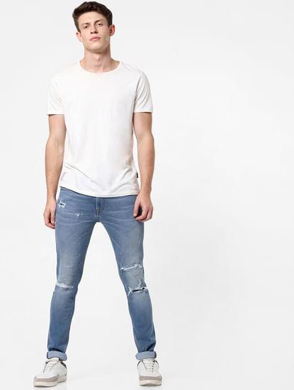 Light Blue Mid Rise Distressed Slim Fit Jeans