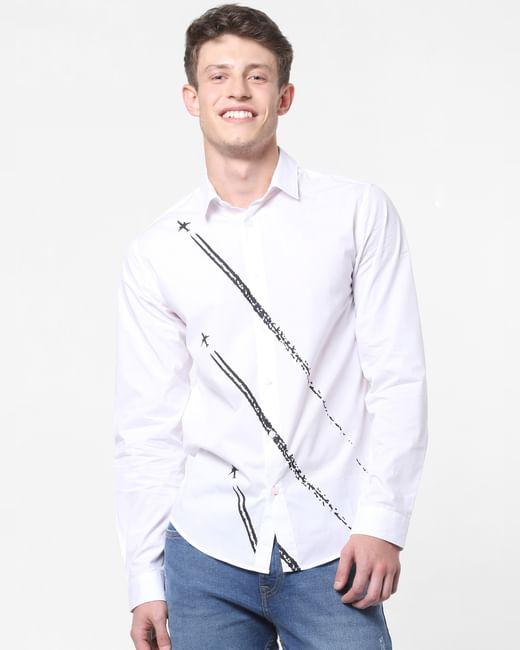 White Jet Print Full Sleeves Shirt