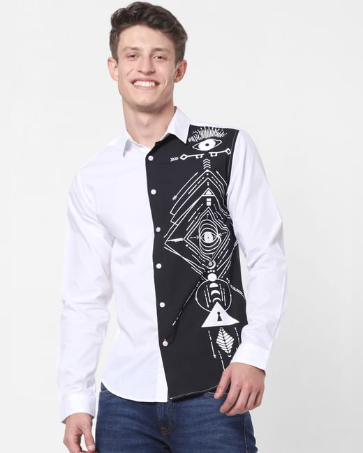 White Tribal Print Full Sleeves Shirt