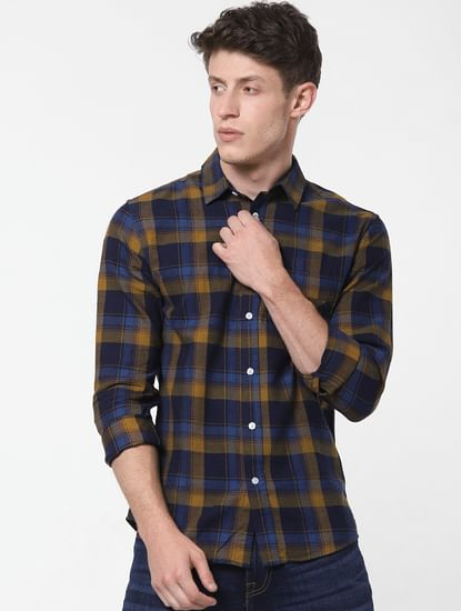 Mustard Check Full Sleeves Shirt