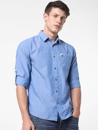 Light Blue Patch Pocket Full Sleeves Shirt