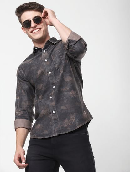 Brown Printed Full Sleeves Shirt