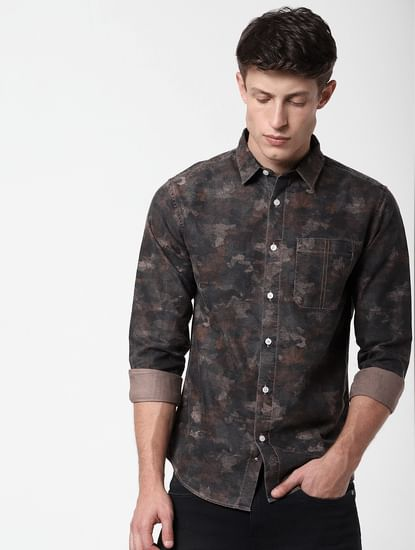 Black Printed Full Sleeves Shirt