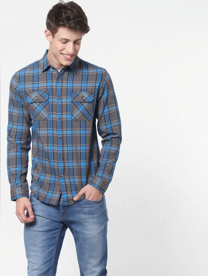 Blue Check Full Sleeves Shirt