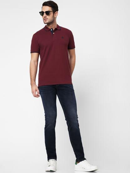 Blue Mid Rise Super Stretch Leon Slim Fit Jeans