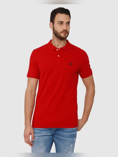 Red Slim Fit Polo Neck T-Shirt