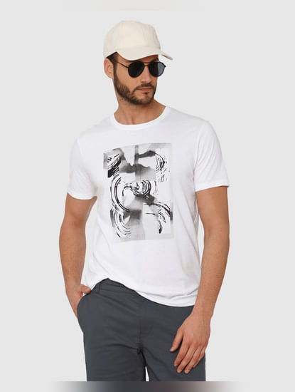 White Graphic Print Crew Neck T-Shirt