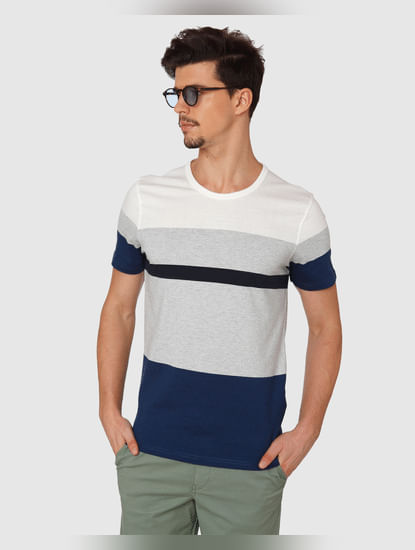 Blue Colour Blocked Crew Neck T-Shirt