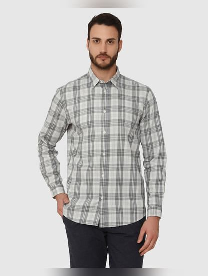 Grey Check Slim Fit Full Sleeves Shirt