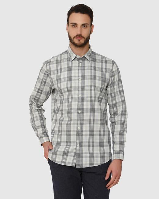 Grey Check Slim Fit Full Sleeves Shirt