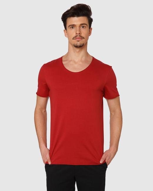 Red Raw Edge Crew Neck T-Shirt