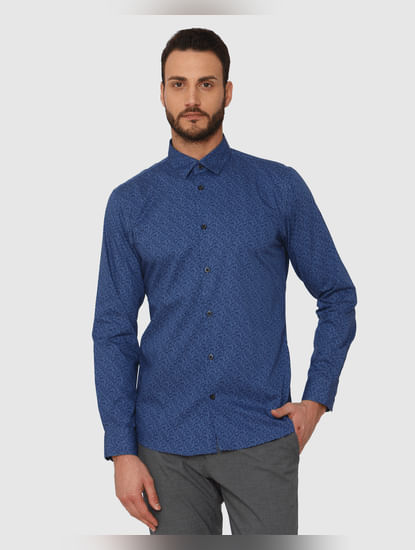 Blue Printed Slim Fit Full Sleeves Shirt