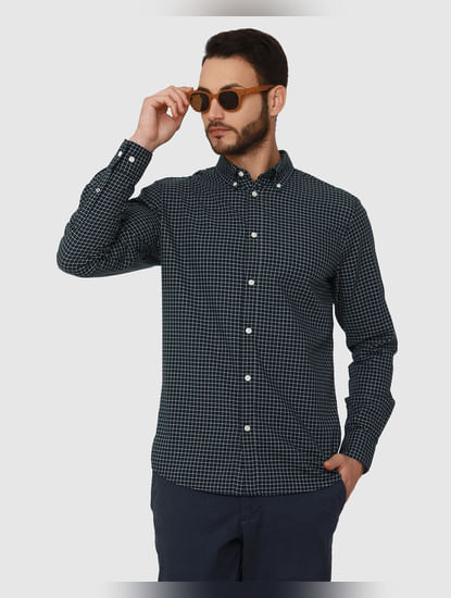 Dark Blue Checks Slim Fit Full Sleeves Shirt
