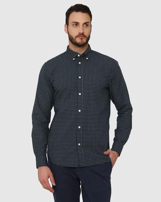 Dark Blue Checks Slim Fit Full Sleeves Shirt