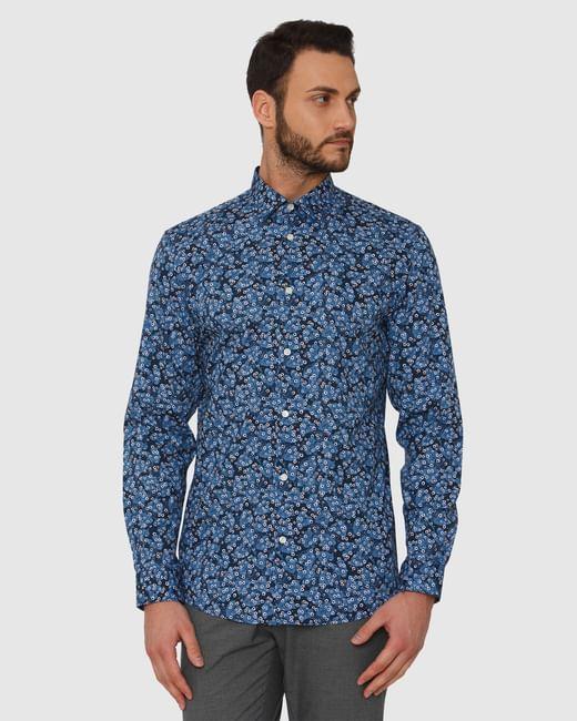 Blue All Over Print Slim Fit Full Sleeves Shirt
