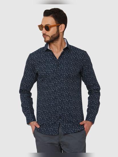 Dark Blue All Over Print Slim Fit Full Sleeves Shirt