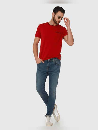 Red Contrast Tipping Crew Neck T-Shirt
