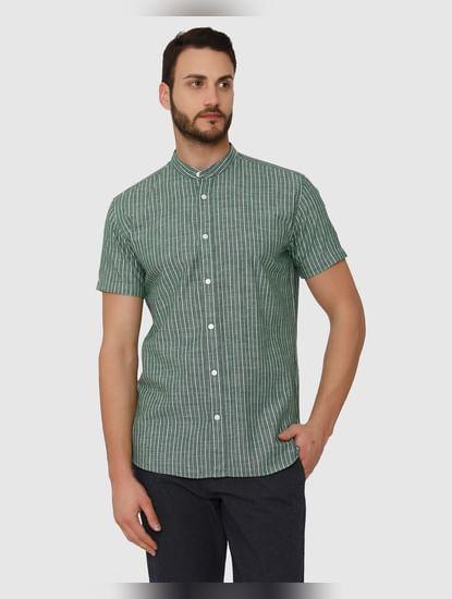 Green Striped Slim Fit Short Sleeves Shirt