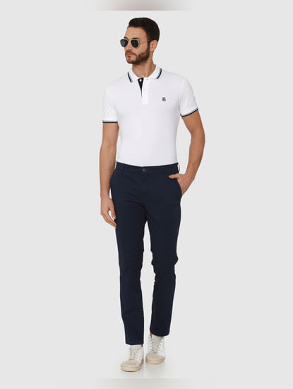 Navy Blue Straight Fit Chinos