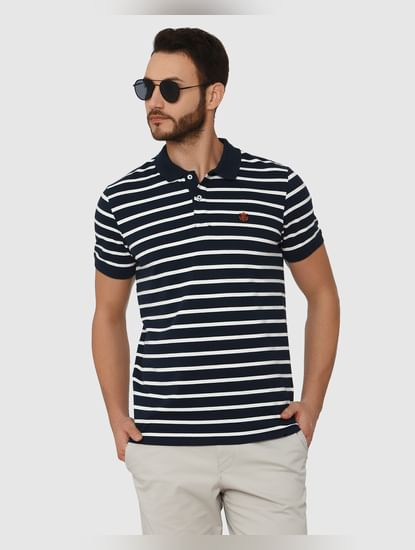 Blue Striped Polo Neck T-Shirt