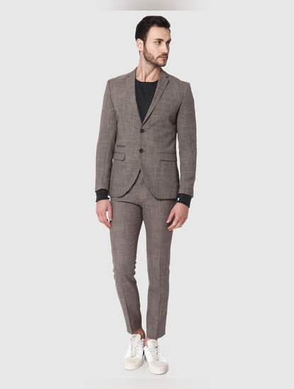 Brown Formal Slim Fit Blazer