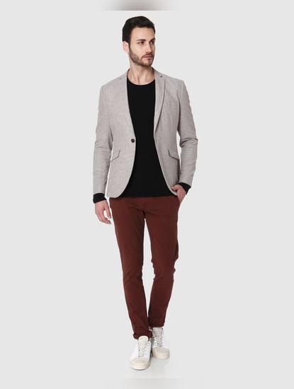 Light Brown Slim Fit Blazer