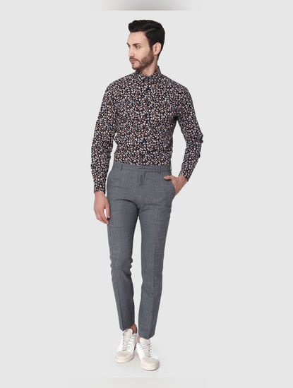Grey Formal Slim Fit Trousers