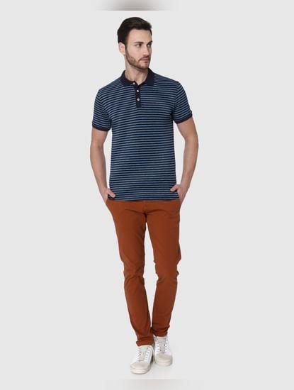 Navy Blue Striped Polo T-shirt